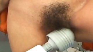 slave sucking threesome toys vagina blowjob brunette doggy-style hairy
